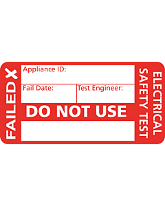 4th Edition PAT Test Failed Labels 50x25mm