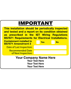 Personalised BS7671 Amendment 3 Periodic Inspection Labels 95x65mm