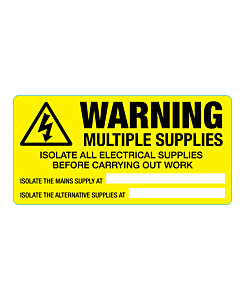 Warning Multiple Supplies Labels 100x50mm