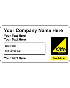 Gas Safe Next Service Due Stickers 63x33mm