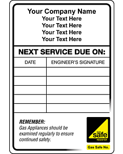 Gas Safe Boiler Service Stickers 95x65mm