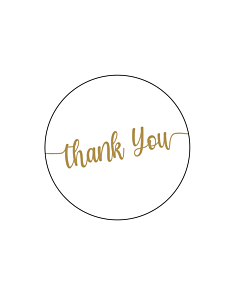 Gold Thank You Stickers 40mm