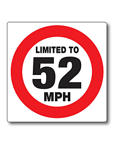 Limited to 52mph Stickers