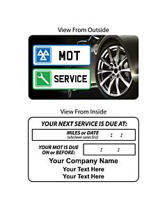 Personalised MOT / Service Reminder Window Stickers 60x35mm