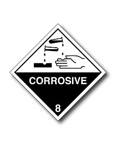 Corrosive 8 White Hand Labels