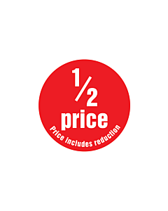 1/2 Price (Price Includes Reduction) Stickers