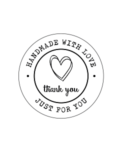 Handmade with Love Just For You Stickers 30mm