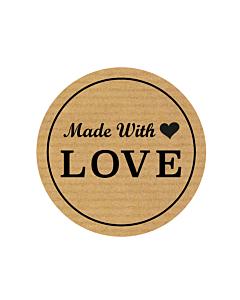 Kraft Handmade with Love Stickers 30mm
