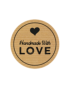 Handmade with Love Heart Stickers 30mm