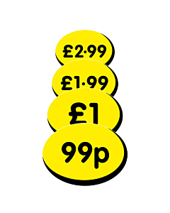 Oval Price Labels 19x14mm