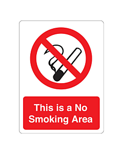 This Is A No Smoking Area Stickers 75x100mm