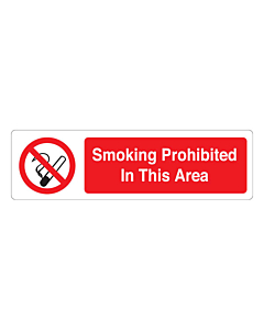 Smoking Is Prohibited In This Area Labels (150x43mm)