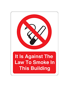 It Is Against The Law To Smoke In This Building Stickers 75x100mm
