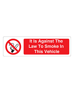 It Is Against The Law To Smoke In This Vehicle Stickers 150x43mm