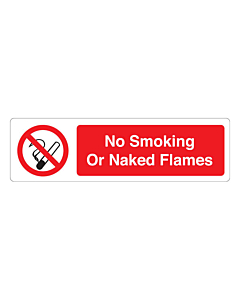 No Smoking Or Naked Flames Stickers 150x43mm