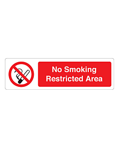 No Smoking Restricted Area Labels (150x43mm)