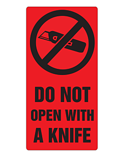 Do Not Open With a Knife Labels 75x150mm