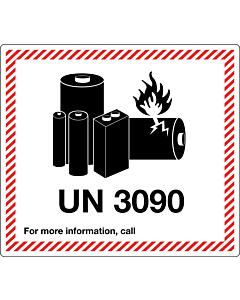 UN 3090 Lithium Metal Battery Labels 120x110mm