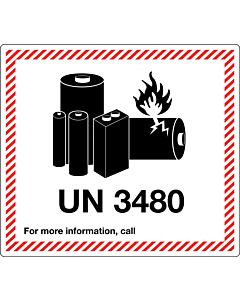 UN 3480 Lithium Ion Battery Labels 120x110mm