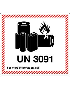 UN 3091 Lithium Metal Battery Labels 120x110mm
