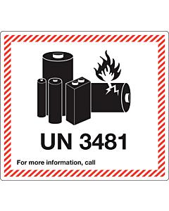 UN 3481 Lithium Ion Battery Labels 120x110mm
