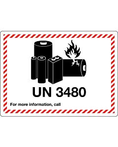 UN 3480 Lithium Ion Battery Labels 105x74mm