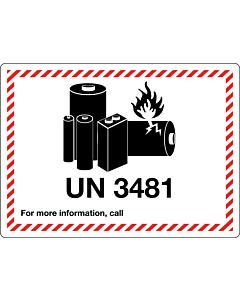 UN 3481 Lithium Ion Battery Labels 105x74mm