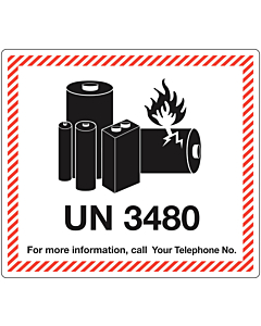 Personalised UN3480 Lithium Ion Battery Shipping Labels 120x110mm