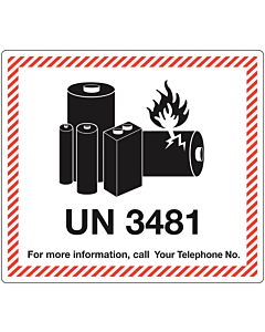 Personalised UN3481 Lithium Ion Battery Shipping Labels 120x110mm