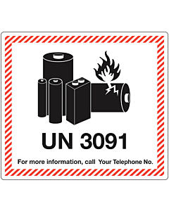 Personalised UN3091 Lithium Metal Battery Shipping Labels 120x110mm