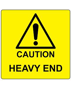 Caution Heavy End Labels 100x100mm