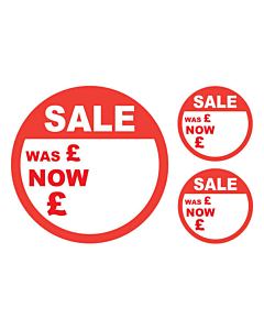 Sale Was / Now Stickers 50 & 24mm