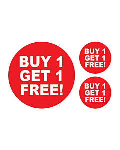 Buy 1 Get 1 Free Stickers 50 & 24mm