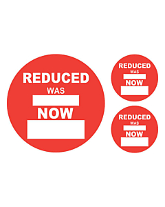 Reduced Was / Now Sale Stickers 50 & 24mm