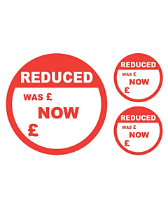 Reduced Was / Now Stickers 50 & 24mm