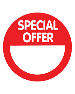 Red Special Offer Stickers 50mm