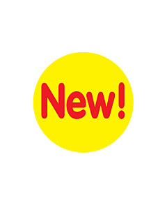 Yellow New Stickers 30mm