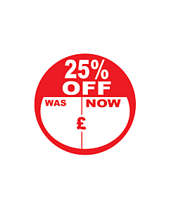 25% Off Was / Now Stickers