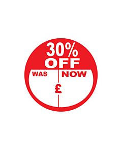 30% Off Was / Now Stickers