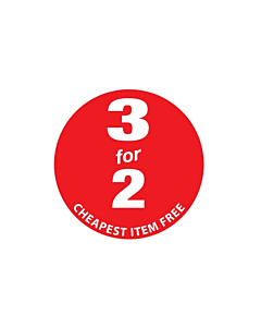 3 for 2 Cheapest Item Free Stickers