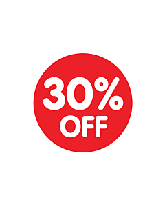 Red 30% Off Stickers