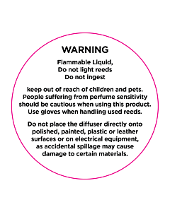 Reed Diffuser Warning Labels 50mm