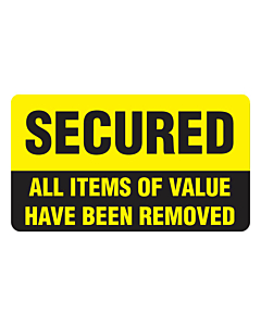 All Items Of Value Removed Window Stickers 70x40mm