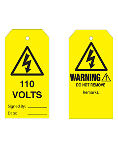 Warning Do Not Remove 110 Volts Tag
