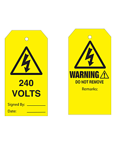Warning Do Not Remove 240 Volts Tag