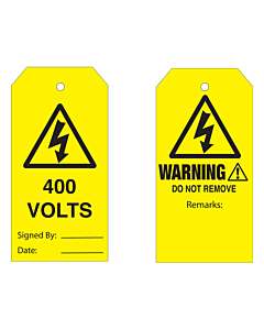Warning Do Not Remove 400 Volts Tag