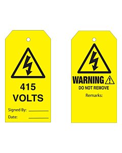 Warning Do Not Remove 415 Volts Tag