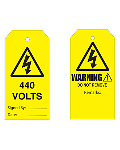 Warning Do Not Remove 440 Volts Tag