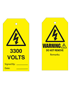 Warning Do Not Remove 3300 Volts Tag