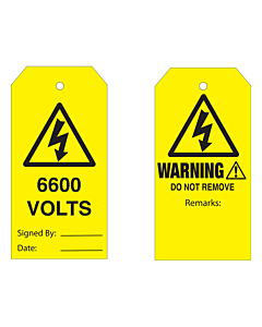Warning Do Not Remove 6600 Volts Tag